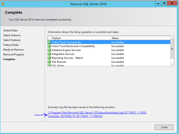 Steps to remove SQL Server 2016 Instance | SQL Server World
